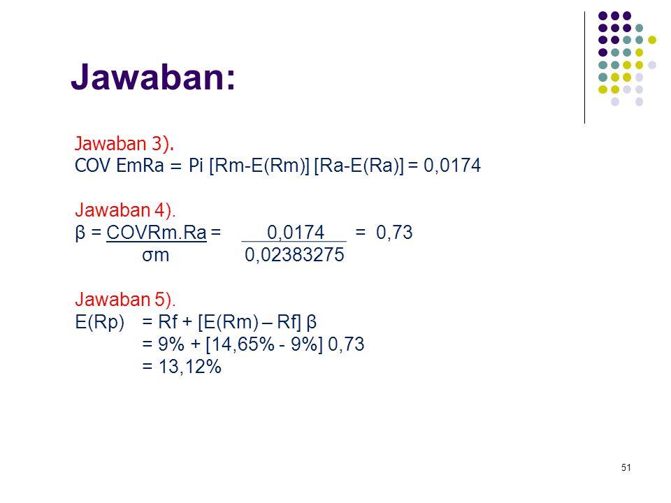 Jawaban: Jawaban 3). COV EmRa = Pi [Rm-E(Rm)] [Ra-E(Ra)] = 0,0174